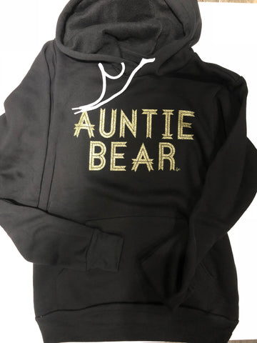 Auntie Bear Solid Black Fleece Hooded Sweatshirt GOLD GLITTER