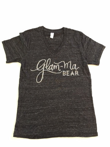 """GLAM-Ma Bear"" Eco Black V Neck Silver Glitter Ink"