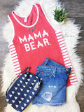 "Unisex Fit ""Mama Bear"" Eco Red Tank"