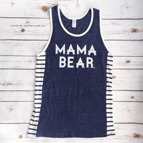 "Unisex Fit ""Mama Bear"" Eco True Midnight Blue Tank"