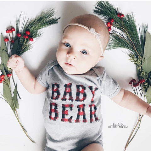 """Baby Bear"" Buffalo Plaid Design Bodysuit"