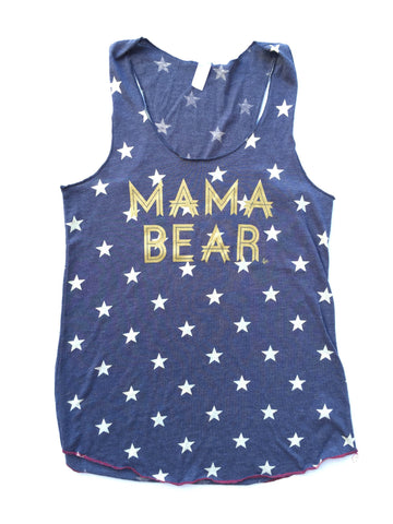 "Women's Fit  ""Mama Bear"" Navy Stars Racer Back Tank"