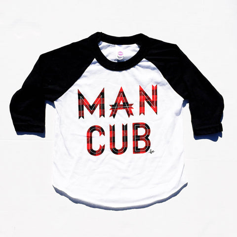 "Youth Raglan ""Man Cub®"" Plaid Ink"