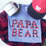 """Papa Bear"" Plaid Ink Tri-Grey Tee"