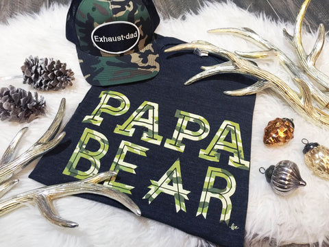 """Papa Bear"" Camo Ink Tri-Black Tee"