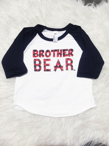 """Brother Bear"" Plaid Ink / Black Sleeve Raglan"