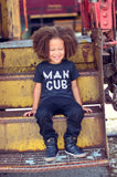 """Man Cub"" Tri-Black Tee Shirt White Ink"