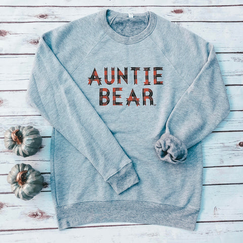 """Auntie Bear"" Red Buffalo Plaid Crew Neck Fleece"