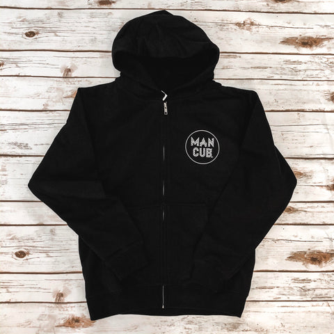 "Checkered ""Man Cub"" Zip Up Hoodie"