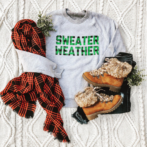 """Sweater Weather"" Kelly Green Plaid Crew Neck Fleece"