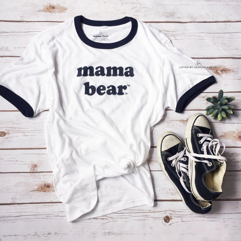 "Retro ""Mama Bear"" Black/White Ringer Tee"