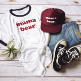 "Retro ""Mama Bear"" Navy/Burgundy Ringer Tee"