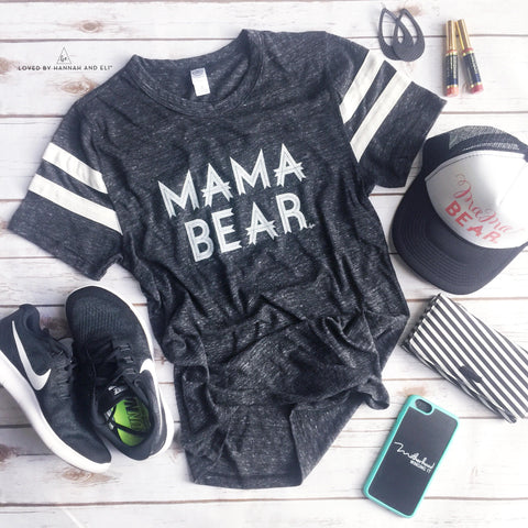 "Football Tee ""Mama Bear"" Tri- Black"