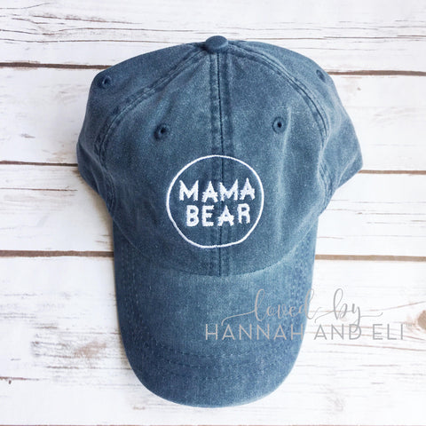"Baseball Hat Circle Logo ""Mama Bear"" Midnight Blue Pigment Dyed (Leather Strap)"