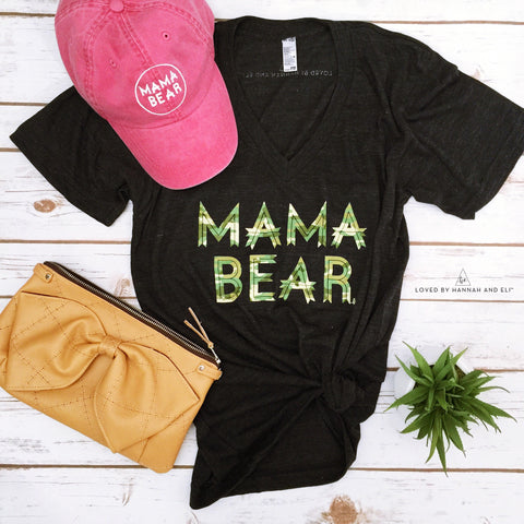 """Mama Bear™"" V-NECK Tri Black Unisex Fit Camo Ink"