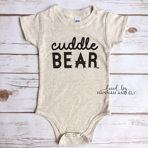 """Cuddle Bear"" Tri-Oatmeal Bodysuit  (Gender Neutral)"