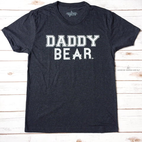 """Daddy Bear"" White Ink Tri-Black Tee"