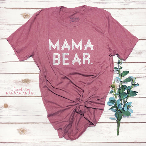 """Mama Bear"" Heather Mauve w/ Marble Design"