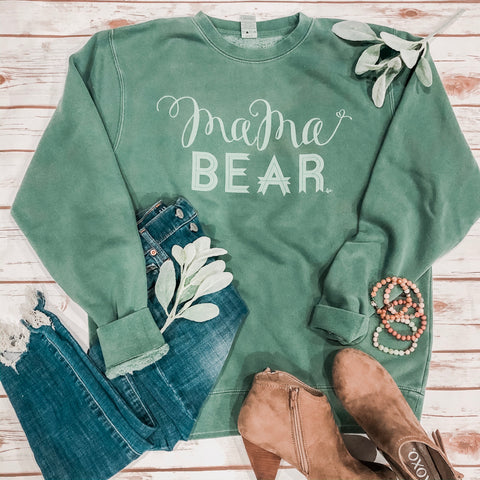 "Pigment Dye ""Mama Bear"" Crewneck Fleece - Alpine Green"