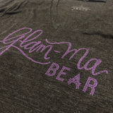 """Glam-Ma Bear"" Purple Shimmer V-Neck"