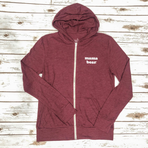 "Lightweight ""Mama Bear"" BERRY Zip-Up"