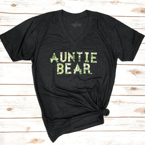 "Auntie Bear"" Tri-Charcoal V Neck  CAMO DESIGN"