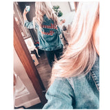 "Denim Jacket ""Mama Bear"" Distressed Design"