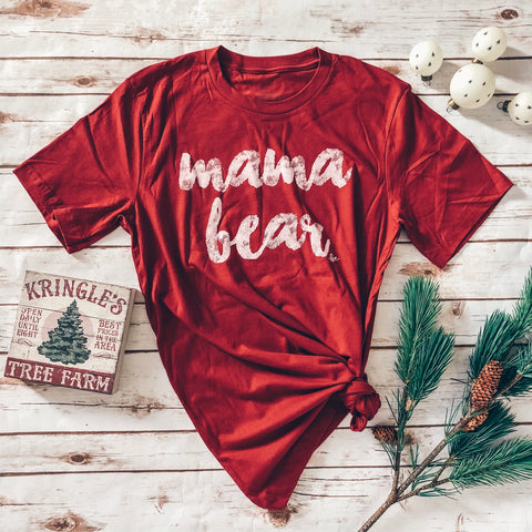 "NEW Cranberry ""Mama Bear"" Brushed Font Crew Neck tee"