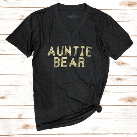 Auntie Bear Tri-Charcoal V Neck GOLD GLITTER