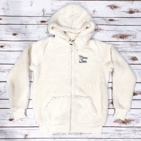 "Sherpa ""Mama Bear"" Embroidered Zip Up"