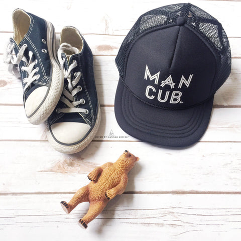 "Trucker Hat ""Man Cub"" Toddler/Youth (Black/White)"