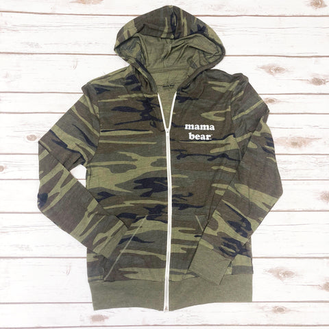 "Lightweight ""Mama Bear"" CAMO Zip-Up"