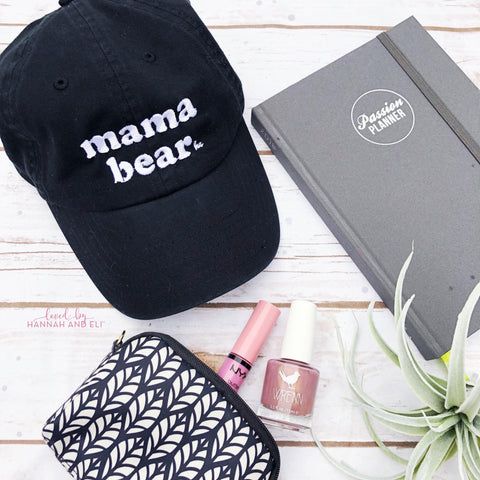 """Mama Bear"" Black Hat White Thread (retro font)"