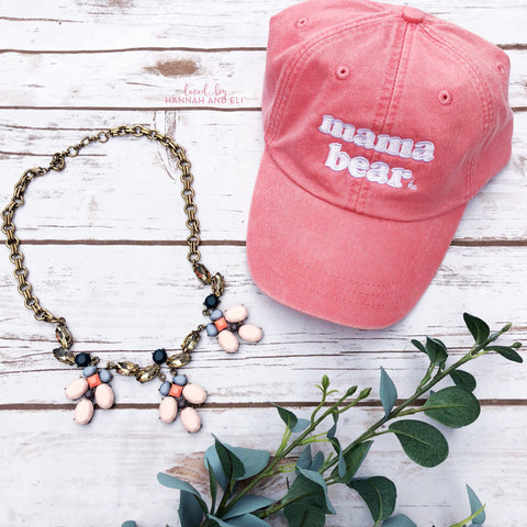 "Baseball Hat RETRO ""Mama Bear"" Coral Pigment Dyed (Leather Strap)"
