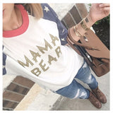"Baseball Sleeve Star Raglan ""Mama Bear"""