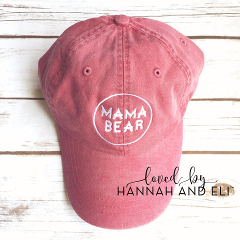 "Baseball Hat Circle Logo ""Mama Bear"" Vintage Red Pigment Dyed (Leather Strap)"