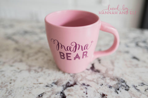 "Rose Quartz ""Mama Bear"" 12oz Thumbprint Mug"