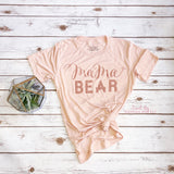 "Tone on Tone ""Mama Bear™"" Peach-Blush Tee w/ Rose Gold Shimmer"