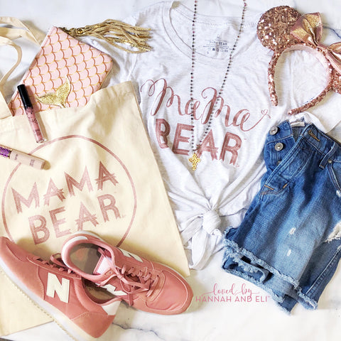 "Classic Relaxed Fit Tri-White ""Mama Bear"" Scoop Neck w/ Rose Gold Shimmer"