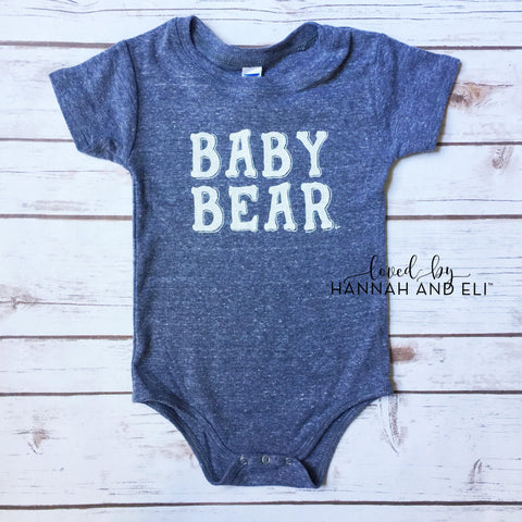 """Baby Bear"" Tri-Grey Bodysuit (Gender Neutral)"