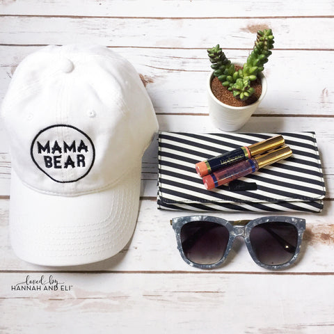 Mama Bear White Baseball Hat Black thread Circle Emblem