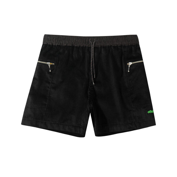 Side Pocket Corduroy Shorts - Black