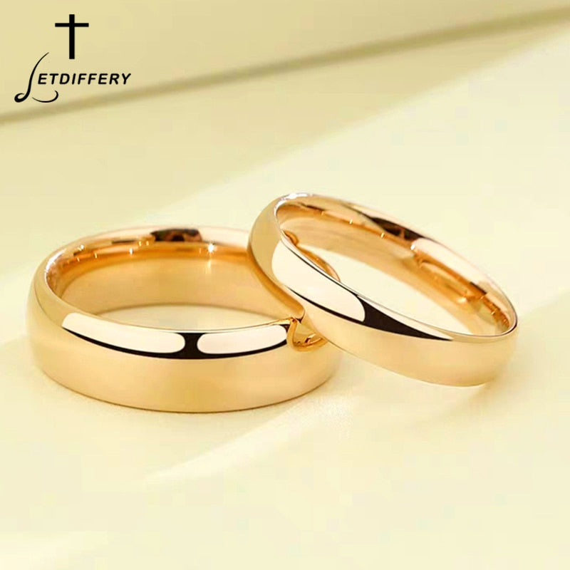 Letdiffery Smooth Stainless Steel Couple Rings Gold Simple