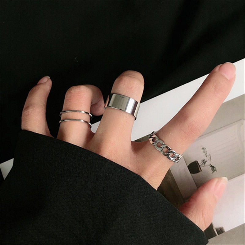 Metal Geometry Circular Punk Rings