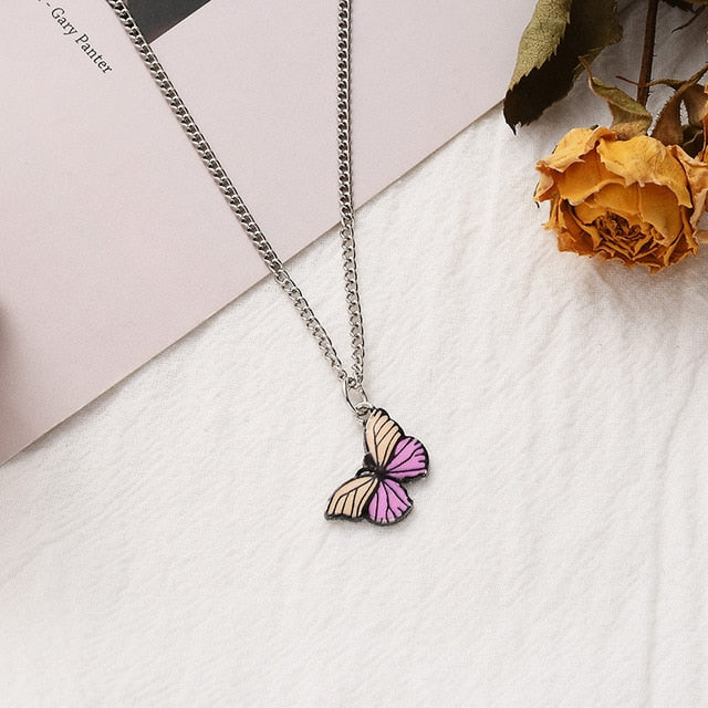 Gold Chain Butterfly Pendant Choker Necklace Women