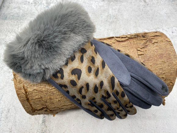 Grey And Pattern Gloves