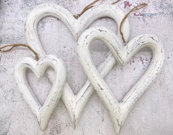 Wooden Hanging Hearts. 3 Sizes White & Grey