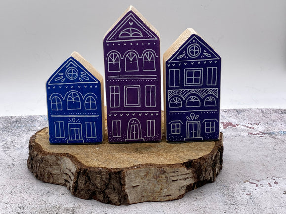 NEW..Handmade Set 3 Decorative Houses Collection..WINTER