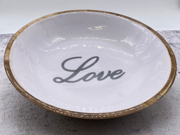 Love Melamine and Wood Bowl