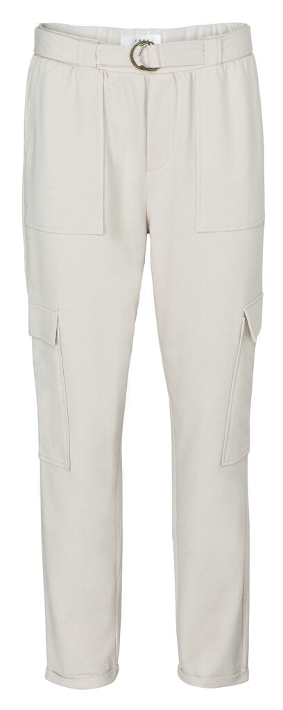 Belted cargo jogger pants with folded hems